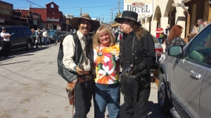 "Lisa with the ""Oatman"" gunslingers"